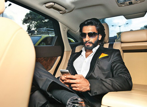 Ranveer Singh in his Mercedes