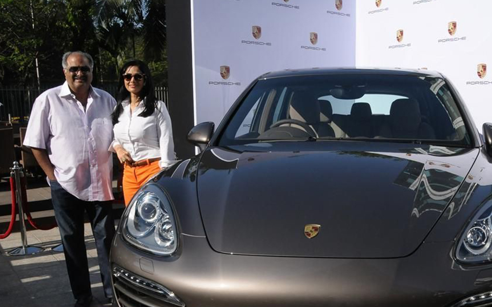 boney Kapoor and wife Sridevi with his Porsche Cayenne