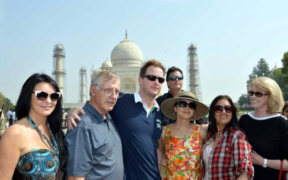 Gene Goodenough with wife Preity and family friends